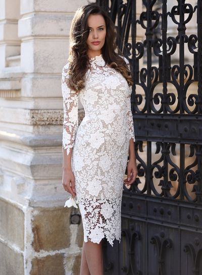 77886d7174 Round Neck Three quarter Length Sleeve Bodycon Lace Dress - OASAP.com