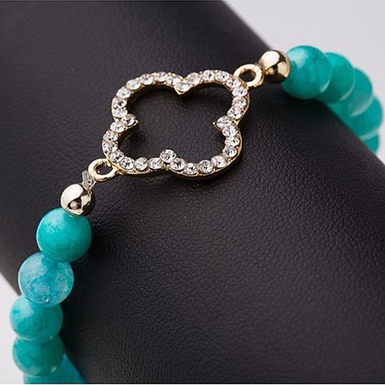 (6) Blue Agate Bracelet with Clover Charm by Askew & Co. from Askew & Co.