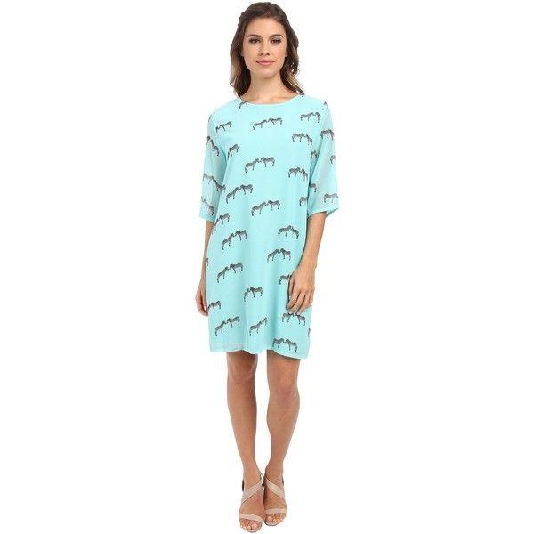 Brigitte Bailey Lola Shift Dress (Zebra) Women's Dress ($31) ❤ liked on Polyvore featuring dresses, animal print, elbow sleeve dress, zebra dress, print dress, print shift dress and wet look dress