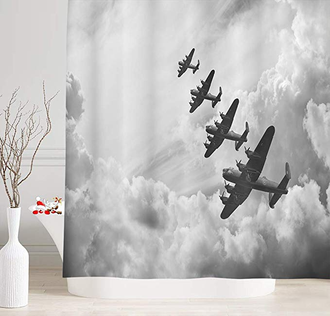 Amazon Com Nymb Vintage Airplane Decor Shower Curtain For Bathroom Retro Image Of Lancaster Bomber Jets Air Force In Clo In 2020 Airplane Decor Vintage Airplane