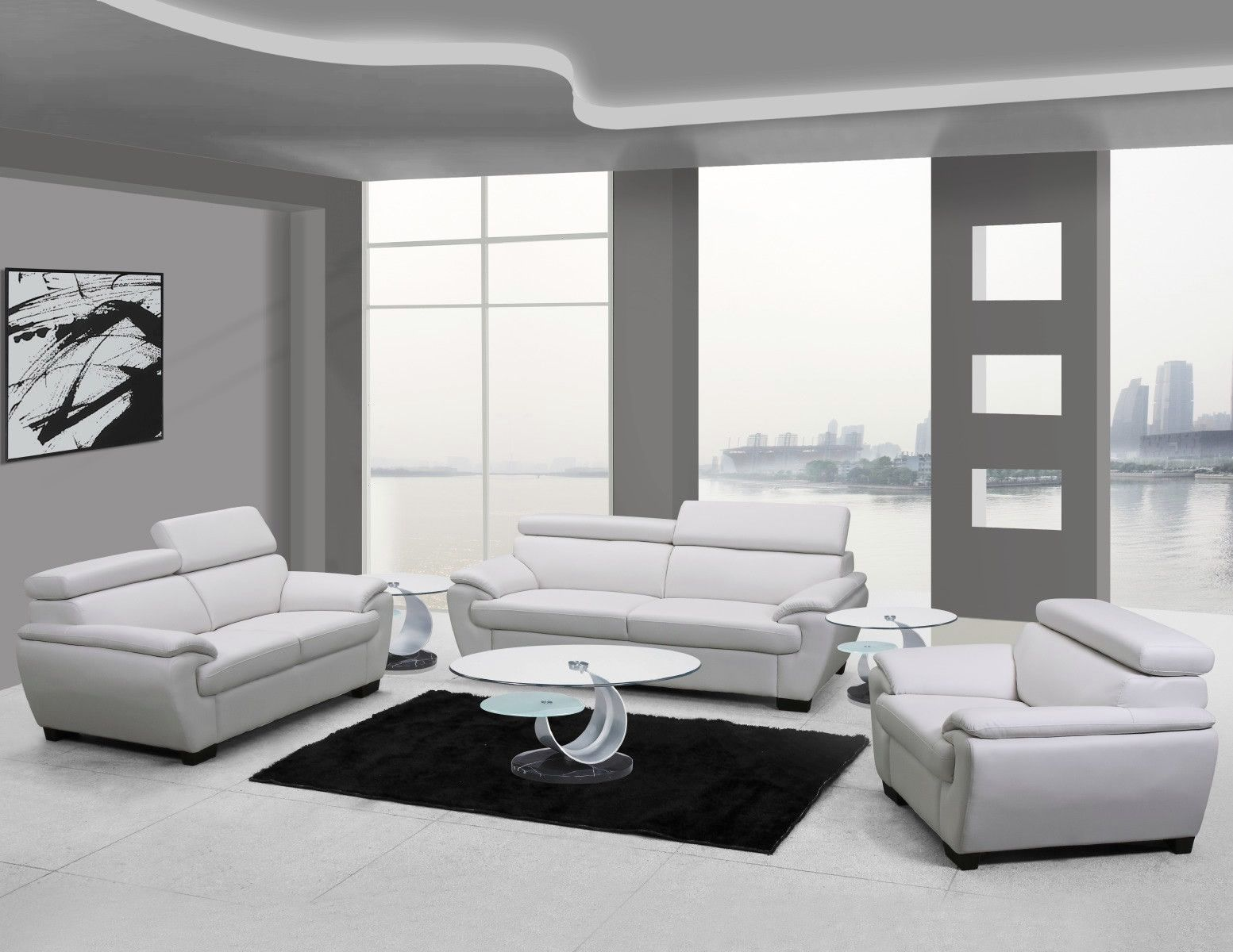 U4571 White Leather Living Room Set | Leather living room set ...