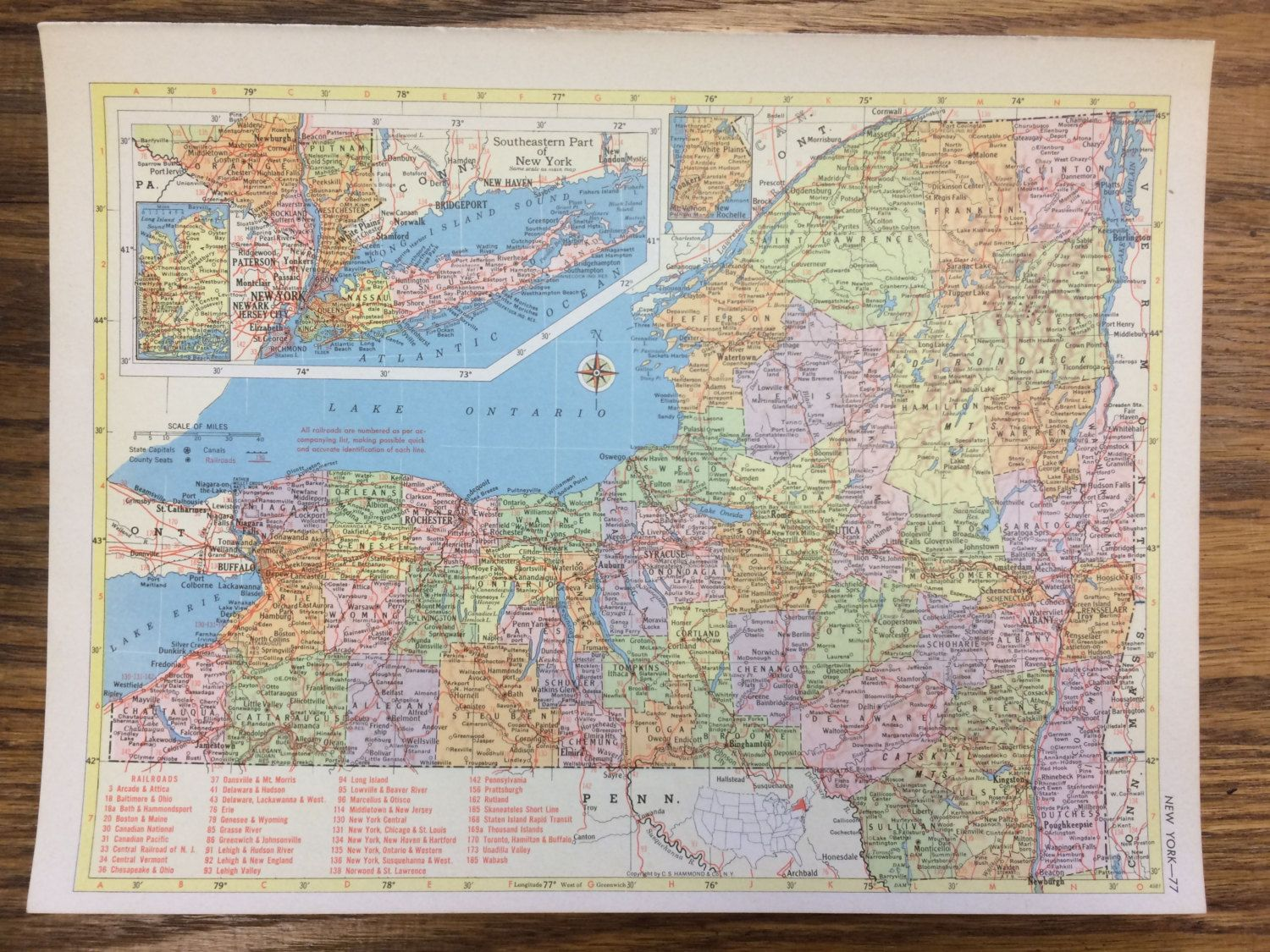 New york or north carolina large map 1955 hammonds new supreme new york or north carolina large map 1955 hammonds new supreme world atlas vintage north carolina supreme and garden city ny gumiabroncs Image collections