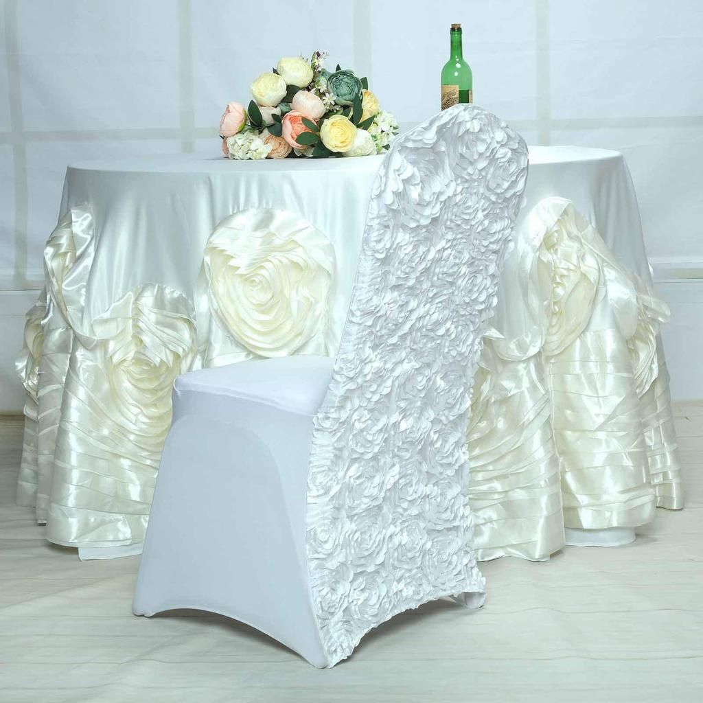 White Satin Rosette Stretch Banquet Spandex Chair Cover Banquet Chair Covers Spandex Chair Covers Chair Covers Wedding