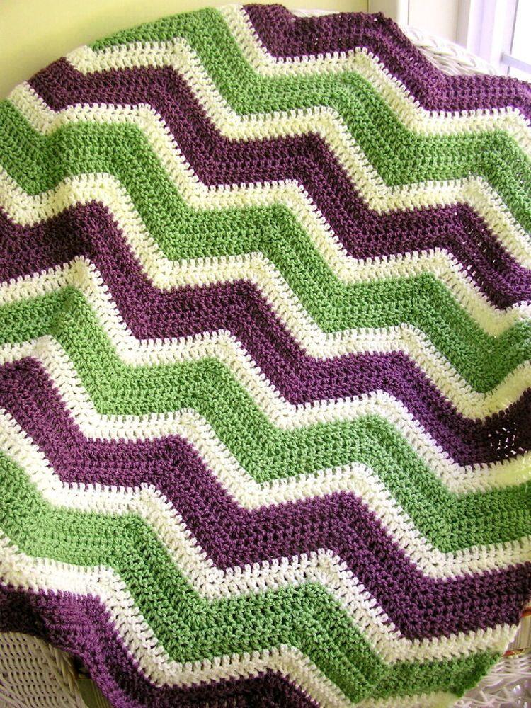 Fantástico Patrón De Crochet Para Chevron Afghan Composición ...