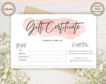 Printable Makeup Gift Certificate Template Mary Kay Avon Etsy Gift Card Template Gift Certificate Template Printable Gift Certificate