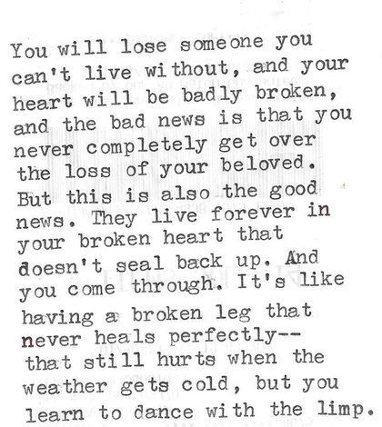 Grief Losing A Loved One I Love This Analogy It Is A Hard