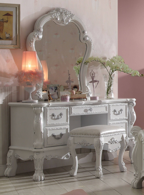 white metal vanity set. Dresden Traditional Antique White Solid Wood MDF Vanity Desk  Mirror