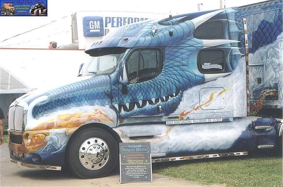Dragon Themed Item Semi Truck And Trailer Custom Big Rigs Big
