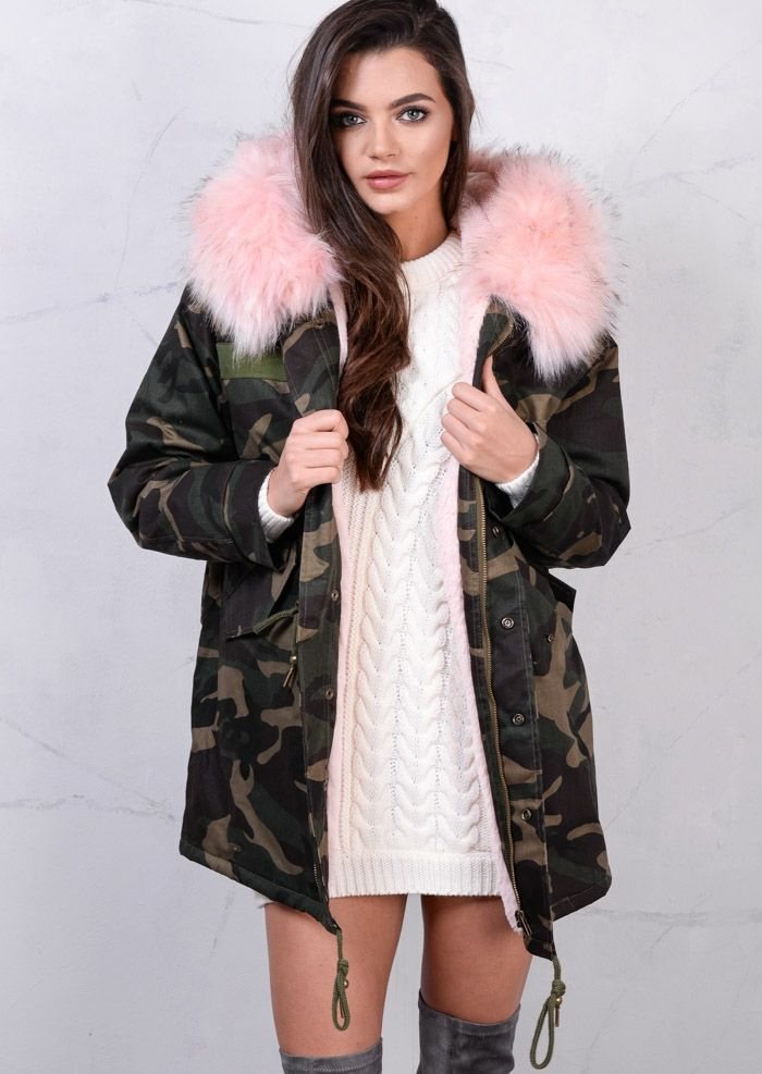 5a8bff25a8752 Pink Faux Fur Hooded Padded Parka Camo Khaki Coat Green   style ...