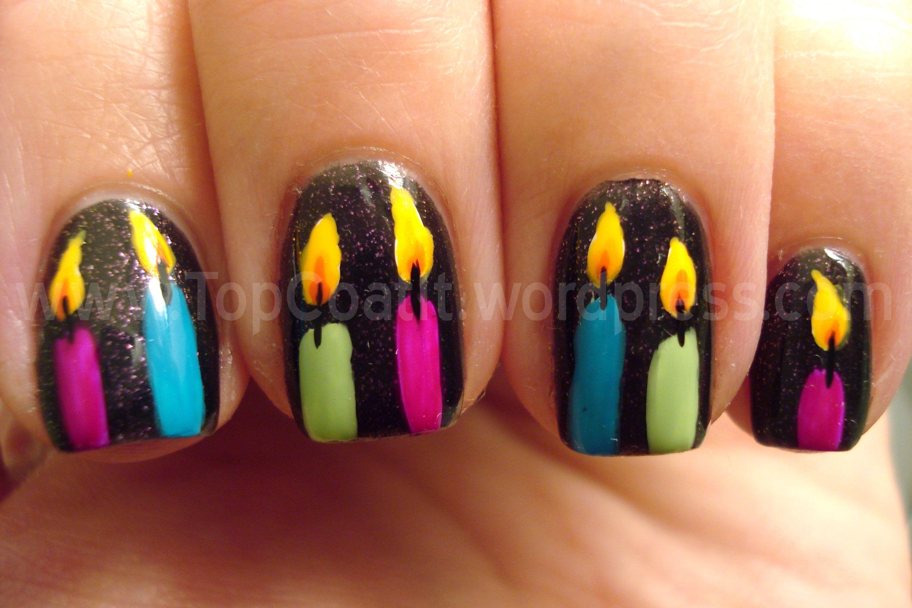 birthday candles nails nail design