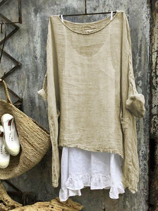 3/4 Sleeve Casual Round Neck Solid Blouse