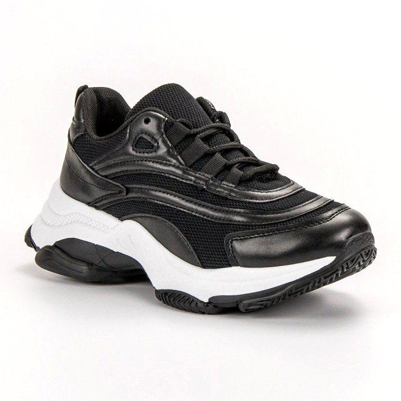 Sznurowane Obuwie Sportowe Czarne Black Shoes Sport Shoes Shoes