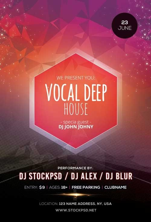 Vocal Deep House  Free Psd Flyer Template  Free Psd Flyer