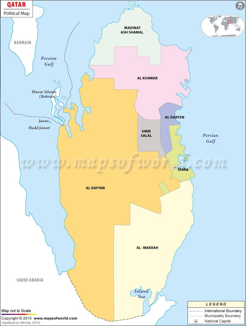 Political Map of QATAR | Administrative Divisions Worldwide