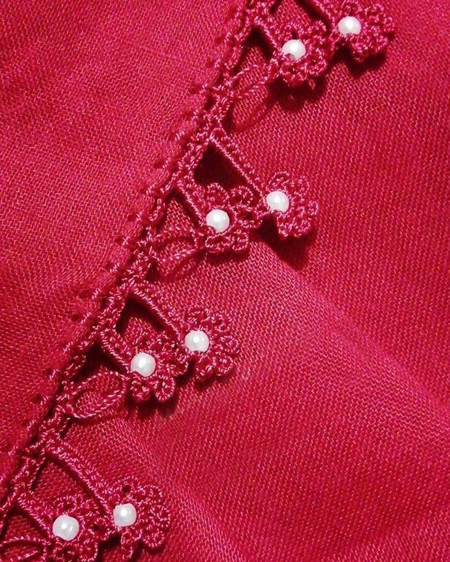 Aşkın Rengi Kırmızı İnci Boncuklu Çiçekli Tığ Oyası Modeli Yapılışı