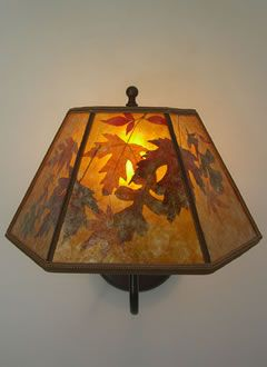 Mica Lamp Shade Magnificent Amber Mica Lamp Shade With Autumn Leaves Brass Wall Sconce Sue Inspiration Design