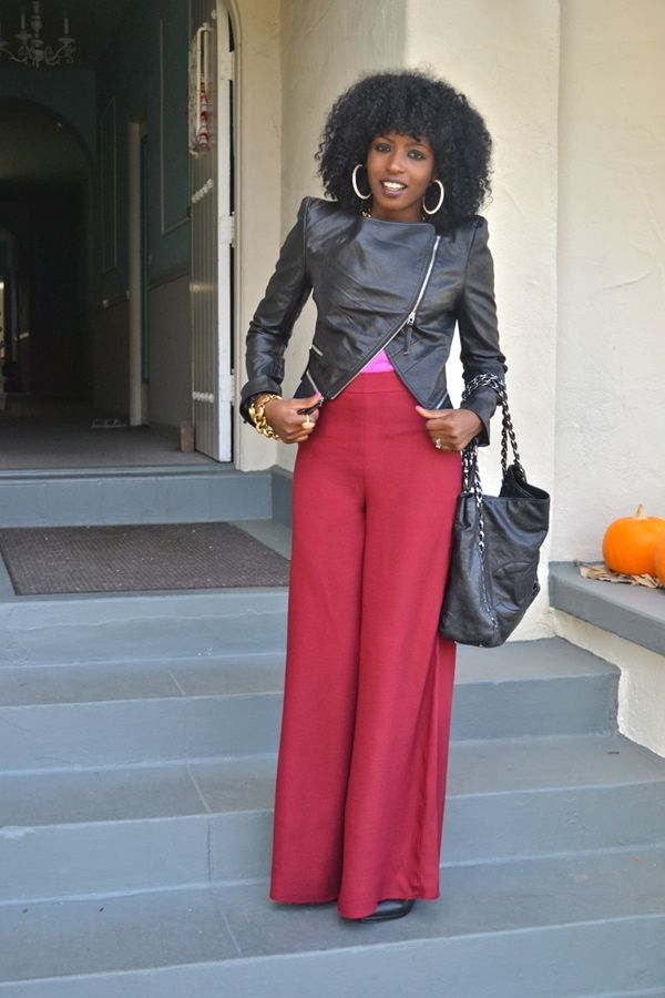 Moto jacket with wide leg pants - www.gotoGreaterLengths.com for ...