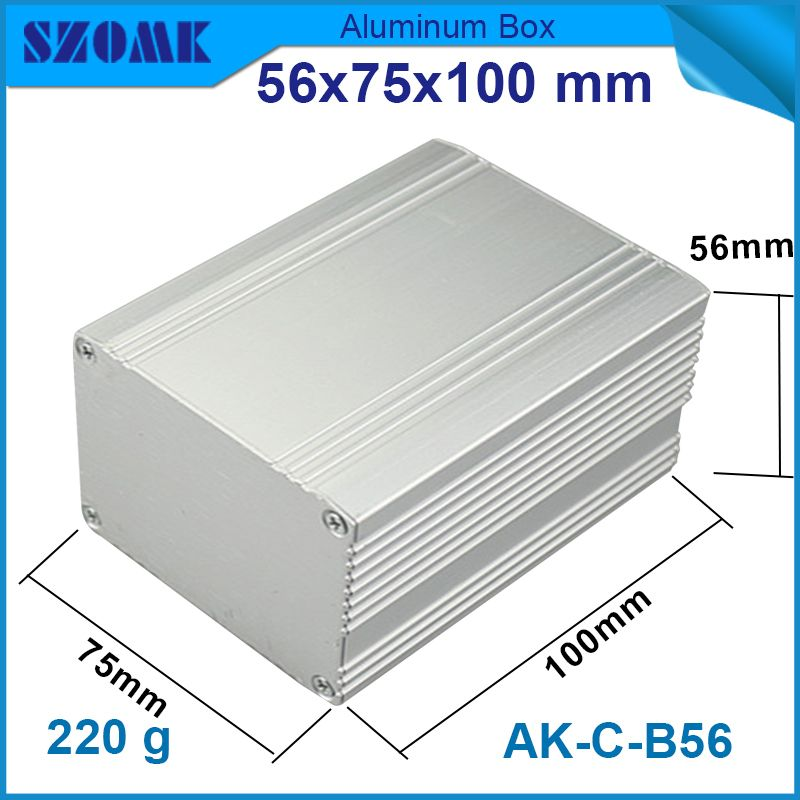 1 piece aluminum case box 56x75x100 mm in silver color ip54