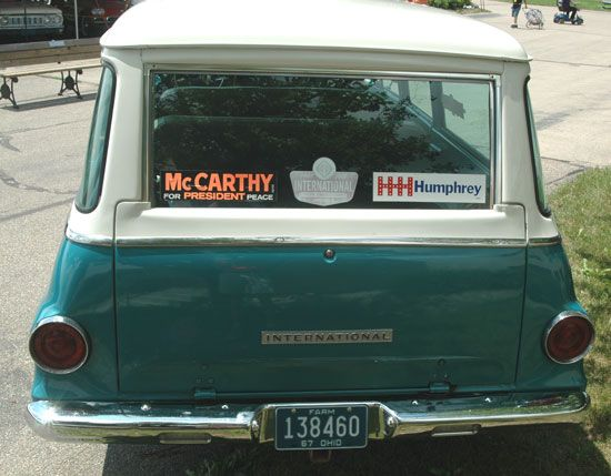 Restored 1967 international travelall with vintage political bumper stickers old cars weekly