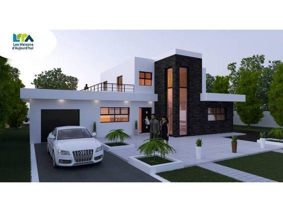 Plan maison contemporaine 161m2 5 pièces 4 chambres Garage House