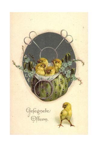 size: 24x16in Giclee Print: Glückwunsch Ostern, Küken in Einem Beutel : Artists