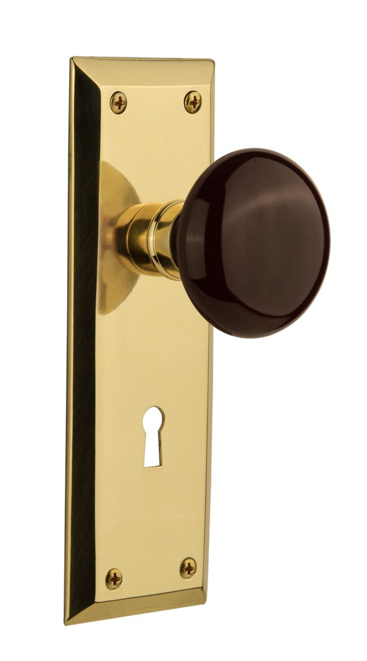 Brown Porcelain Interior Mortise Door Knob With New York Plate