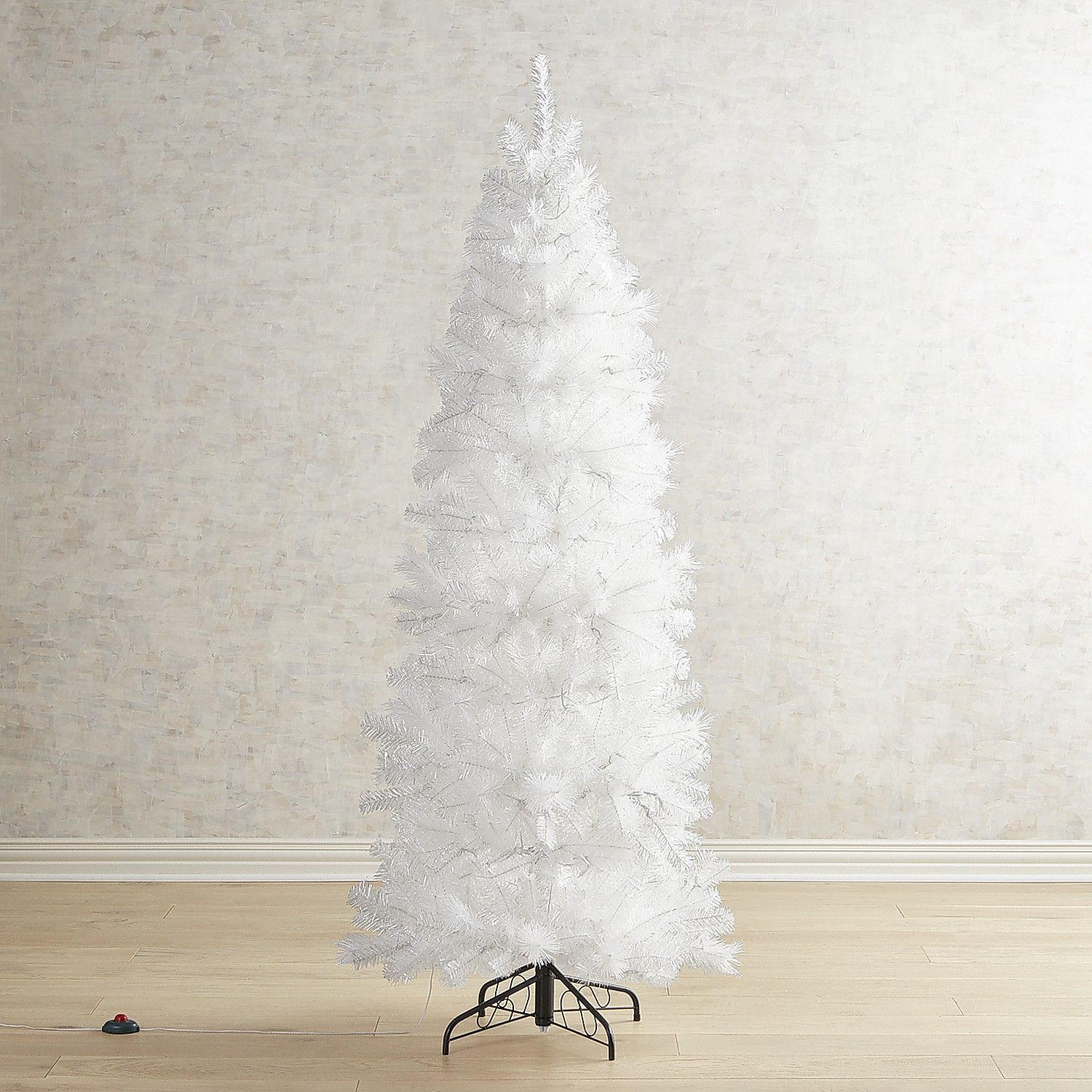 6.5\' White Shimmer Slim Pre-Lit Artificial Tree | Products