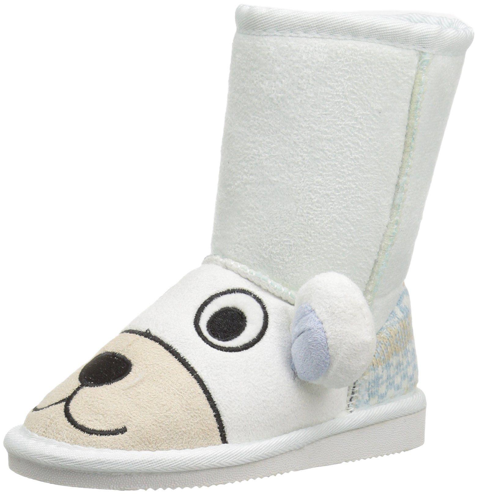MUK LUKS Kids' Animal Polar Bear Pull-on Boot, White, 11 M