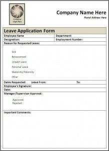 Admission Form For School Entrancing Leave Application Form  A To Z Templates  Pinterest  Template