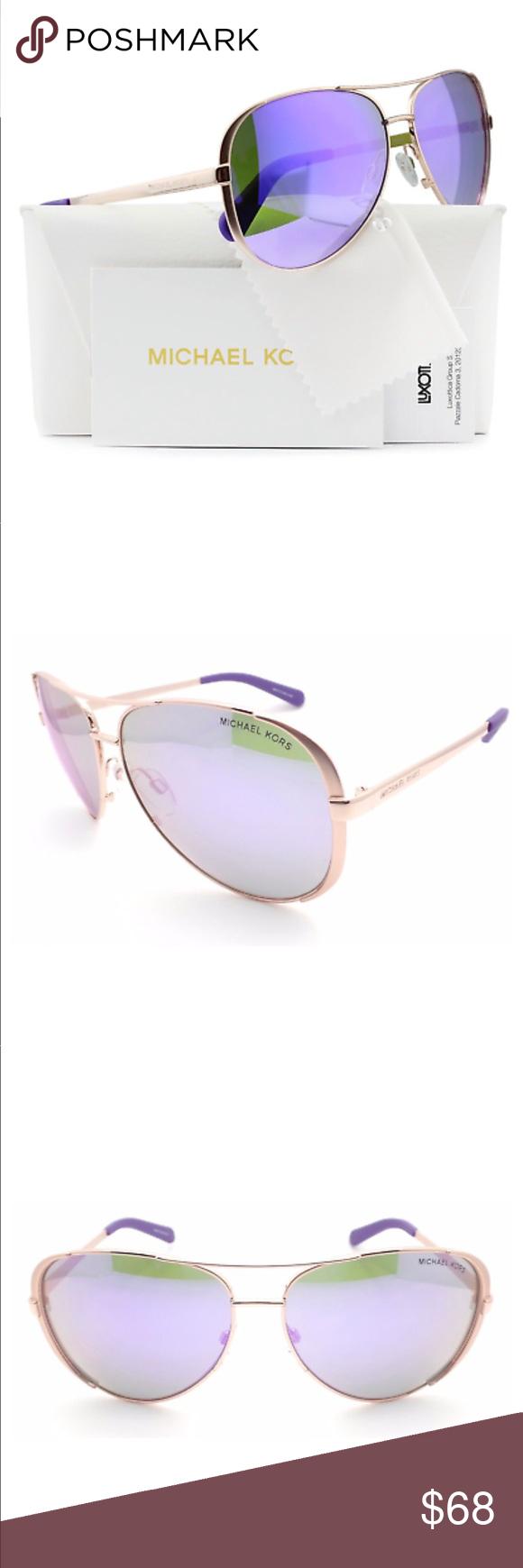 671c55eb43d6 Michael Kors sunglasses Michael Kors MK5004 Chelsea Aviator Sunglasses Rose  Gold w/Purple Mirror (