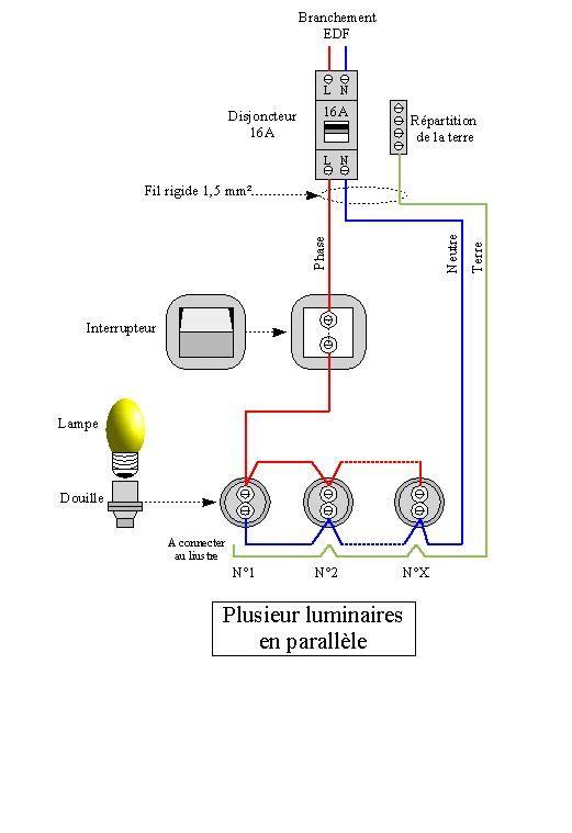 Commande De Plusieurs Luminaires Par Un Interrupteur Electricité Schema Tableau Electrique Maison Schéma électrique