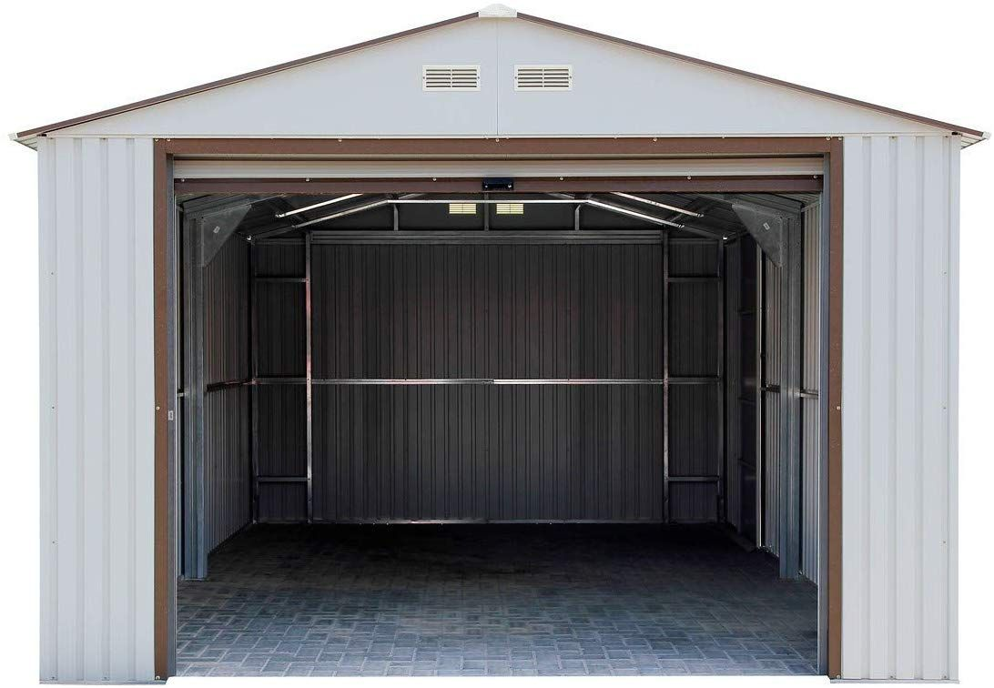 Duramax Imperial Metal Garage 12 X 32 Off White With Brown In 2020 Metal Garages Sheds For Sale Prefabricated Houses