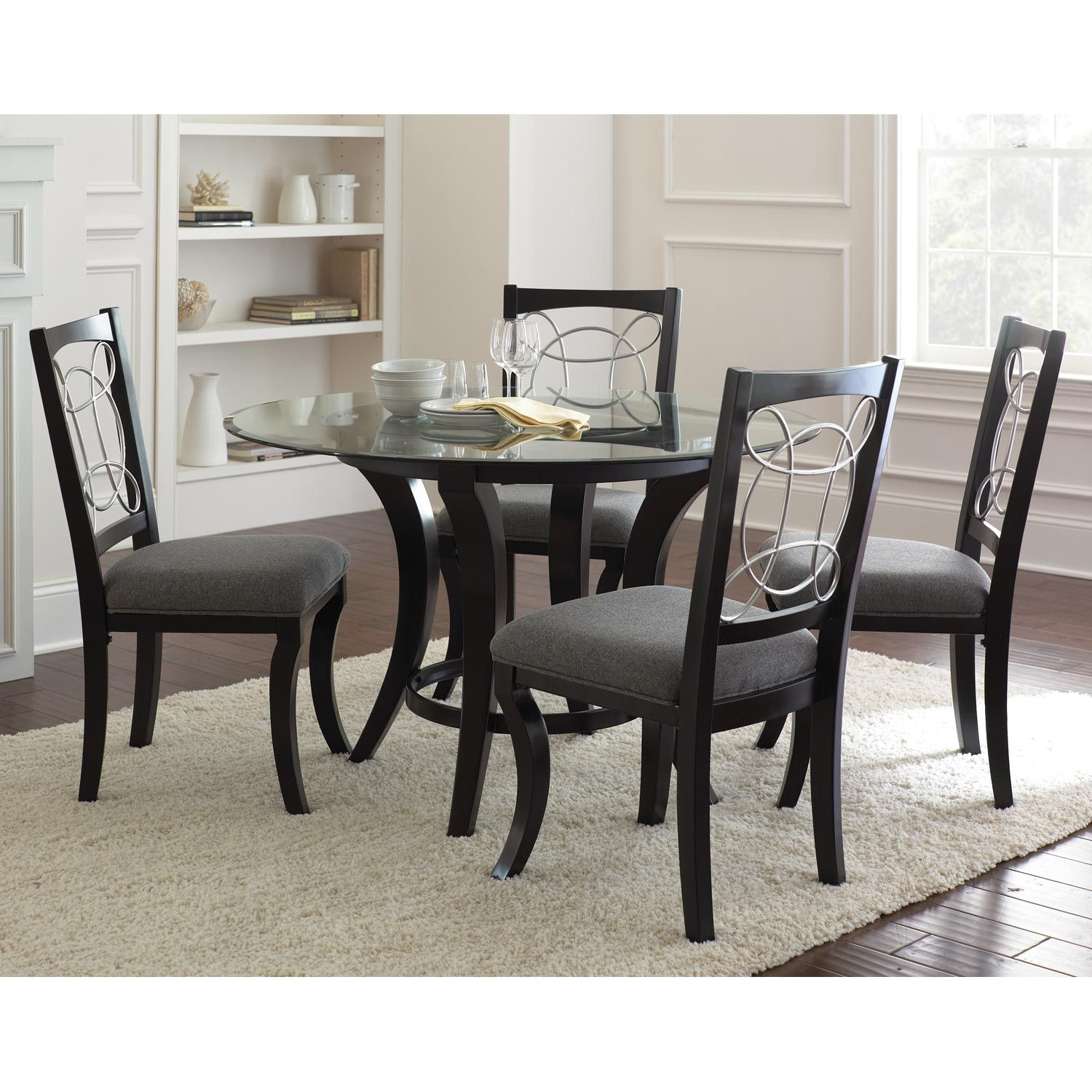 Cayman Modern Round Dining Set - Glass, Metal, Marble, Wood