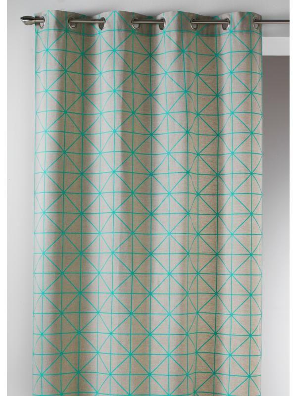 Rideau Pret A Poser Origami Turquoise Scandinave Art Of Life Rideaux Decoration Appartement Rideaux Pret A Poser