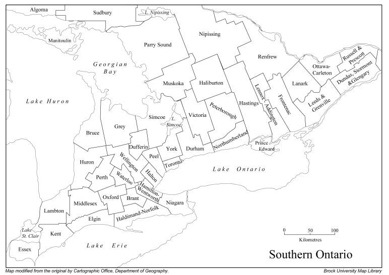 Map of Ontario kb ontario no names pdf 194 kb southern