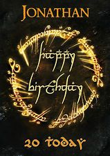 Lord of the Rings Birthday Card To Rule Them All Customized with