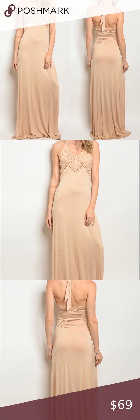 Tan Maxi Dress Maxi Dress Halter Sundress Dresses [ 1740 x 580 Pixel ]