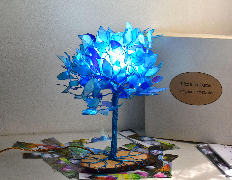 Table Lamp Blue Tree Of Life Fairy Lamp Bonsai Single Piece Handmade Lamp Paper Wire Resin Art Lampade Da Tavolo Lampade Cromoterapia