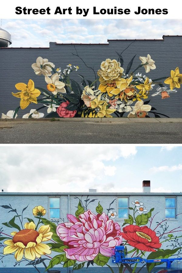 Bursts of Stylized Flowers by 'Ouizi' Transform Buildings Into Floral Canvases – My Street Inspiration  Flower street art by Louise Jones #streetart
