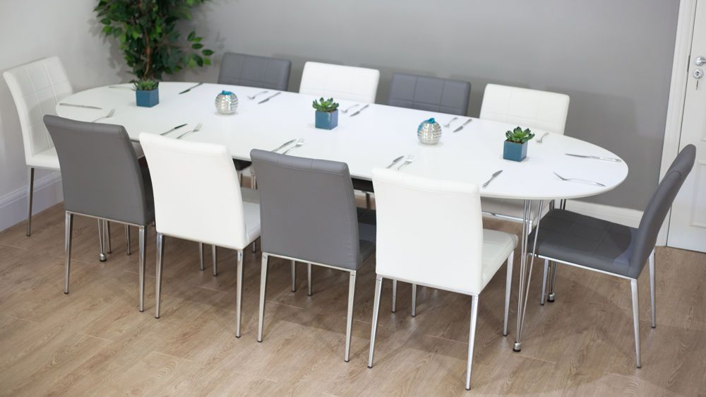 Lovely 6 10 Seater White And Grey Extending Dining Set