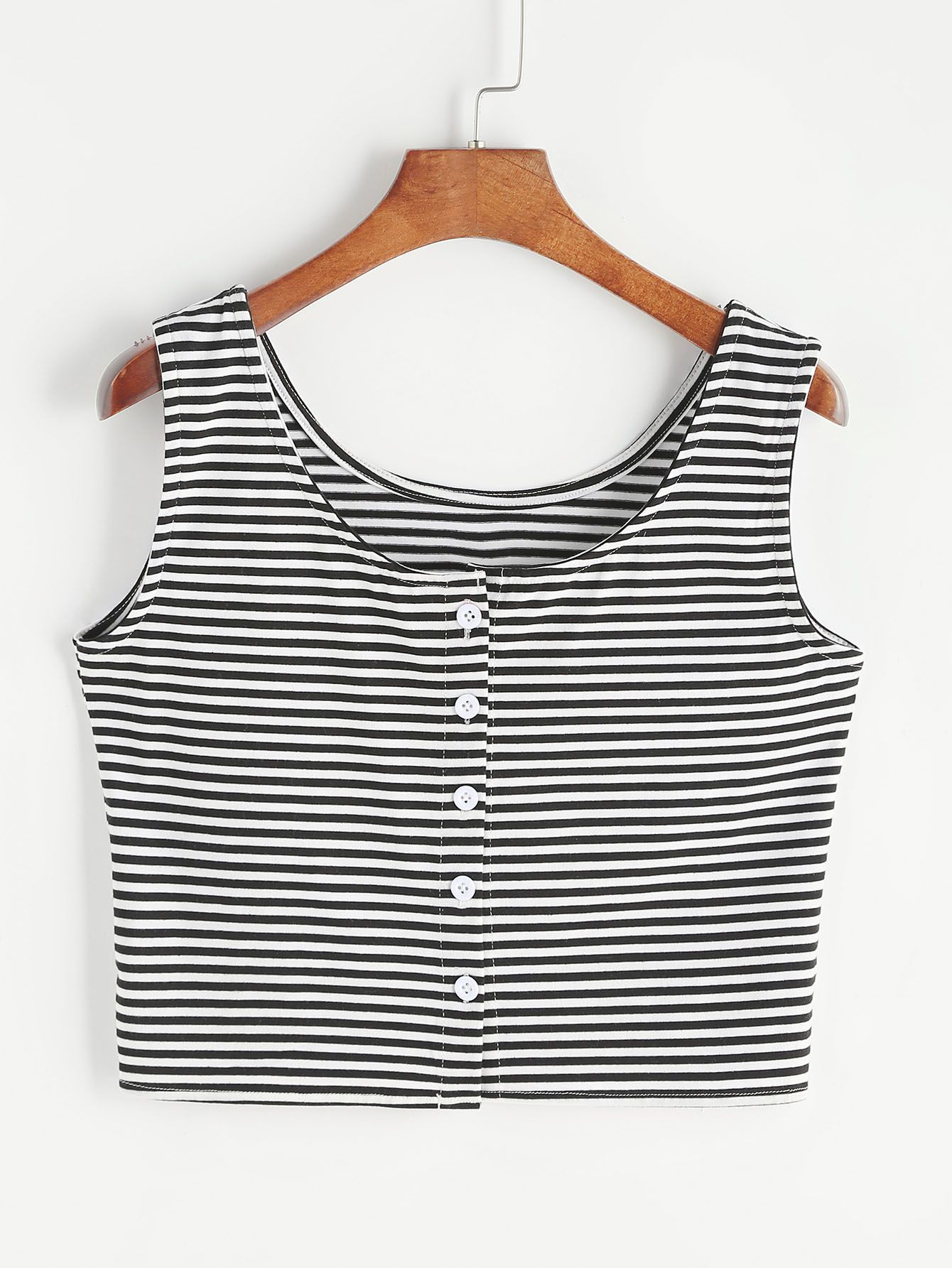 7cf66ddf3a2 Shop Striped Crop Tank Top With Button online. SheIn offers Striped Crop  Tank Top With Button   more to fit your fashionable needs.