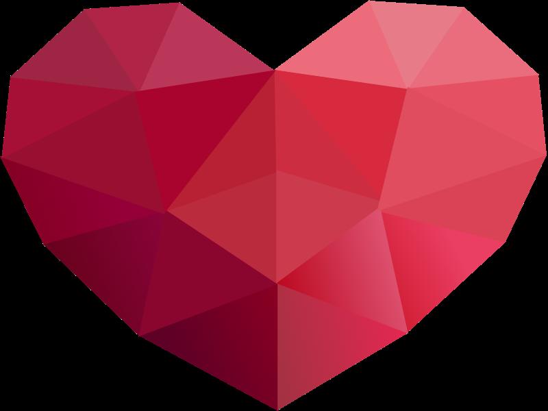 Low Poly Series Red Heart Icon Molde coração, Coração