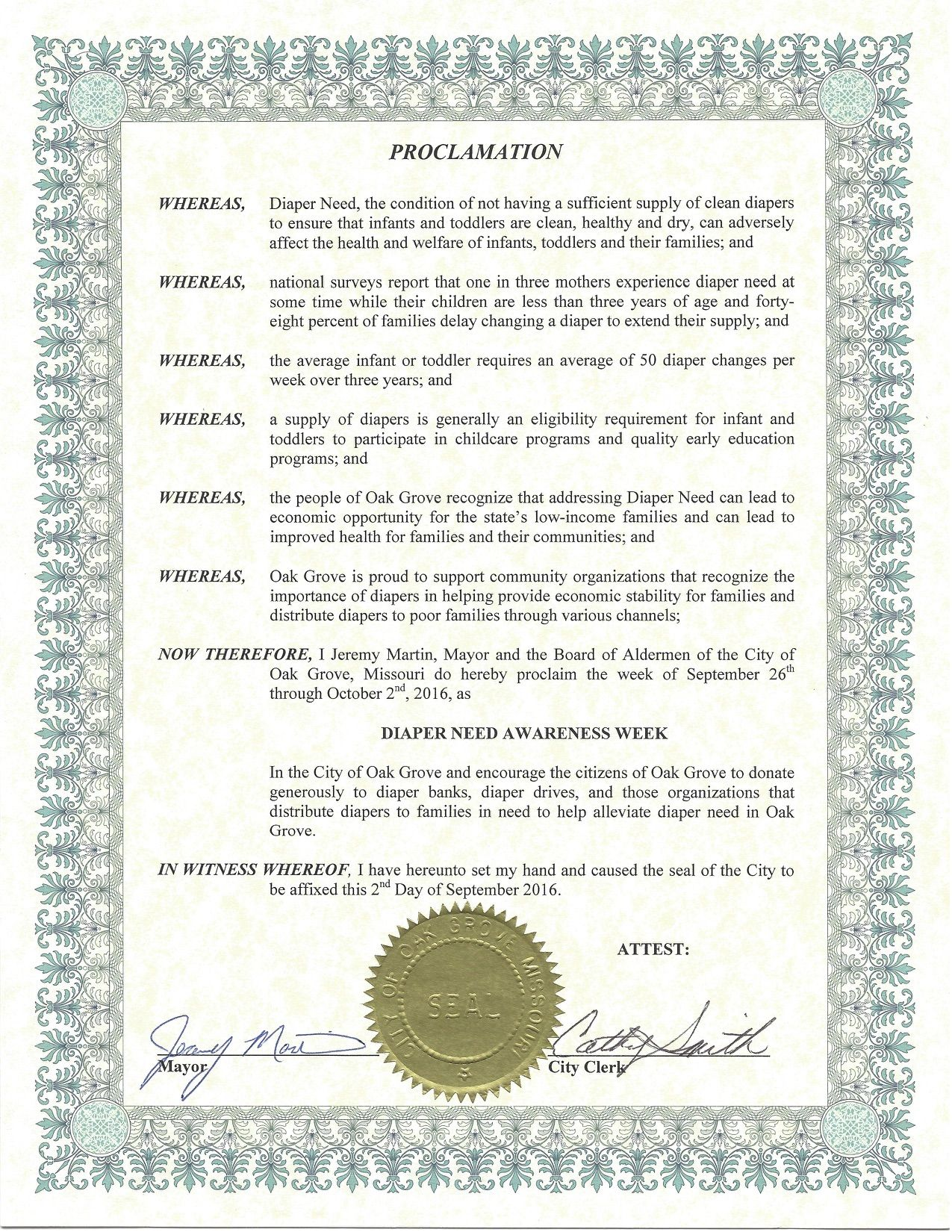 OAK GROVE - Mayoral proclamation recognizing Diaper Need Awareness Week (Sep. 26-Oct. 2, 2016) #DiaperNeed Diaperneed.org