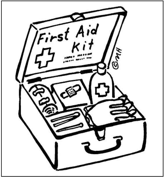 Physician Holding First Aid Kit And Pointing Up - FriendlyStock
