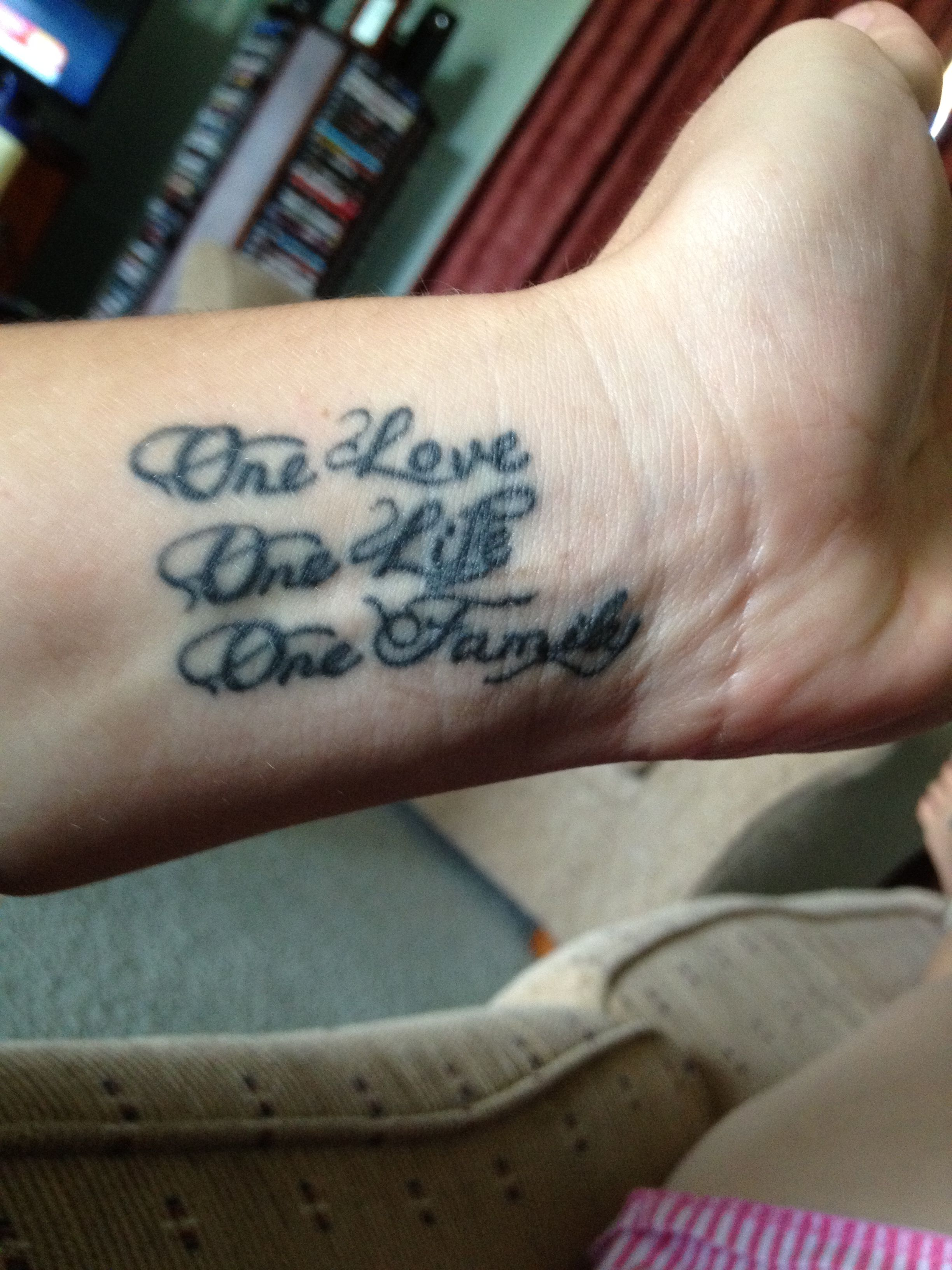 69 meaningful family tattoos designs mens craze - One Love One Life One Family