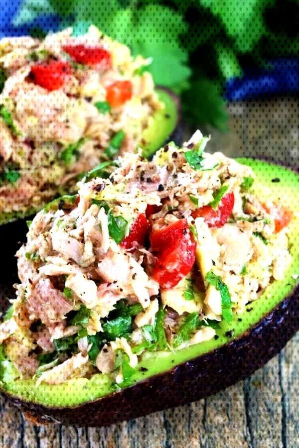 TUNA STUFFED AVOCADO - These avocados are stuffed with a flavorful southwest mixture of tuna, bell