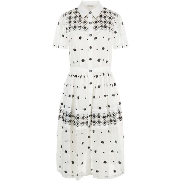 Temperley London Etta Dress ($1,060) ❤ liked on Polyvore featuring dresses, white embroidered dresses, embroidered dress, white embroidery dress, military dress and star dress
