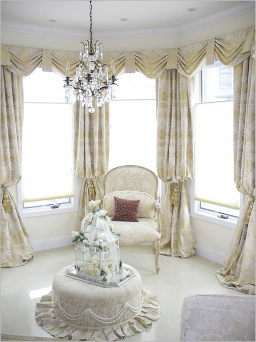 Living room lovely living room curtain idea for bay - Living room with bay window ...