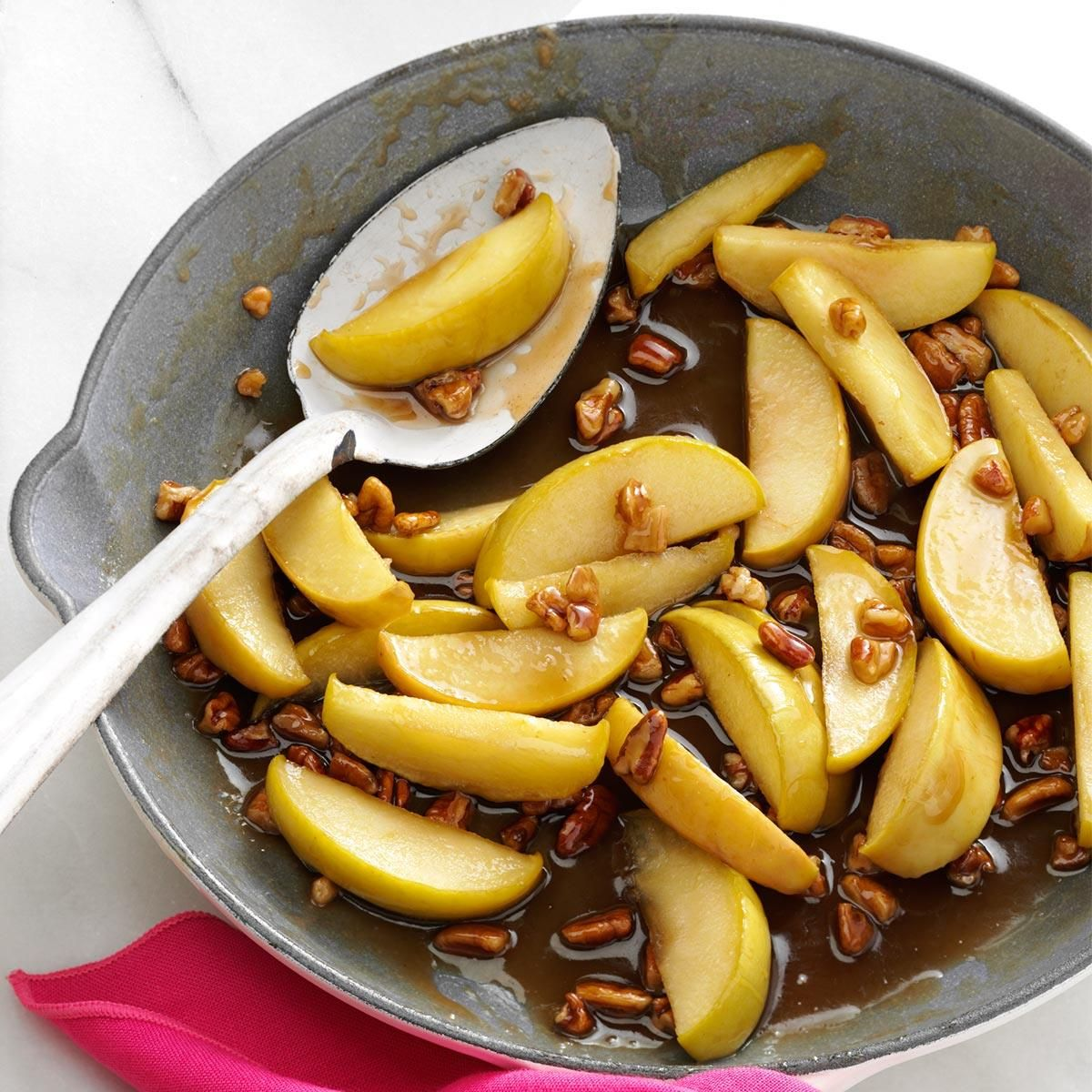 Caramel-Pecan Apple Slices Recipe -When looking for a fast, fun side dish to dress up a pork entree or any festive spread, Carol Gillespie relies on this fuss-free recipe to please family and friends in Chambersburg, Pennsylvania. TASTY TIP. Try spooning over a scoop of vanilla ice cream for a dessert treat.