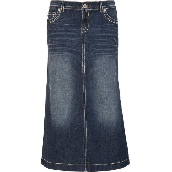 HydraulicR Thick Stitch Long Denim Skirt